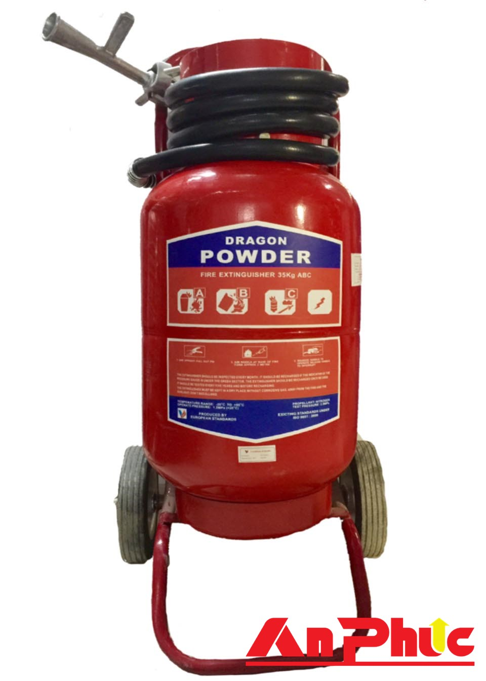 Bình chữa cháy có xe đẩy bột ABC